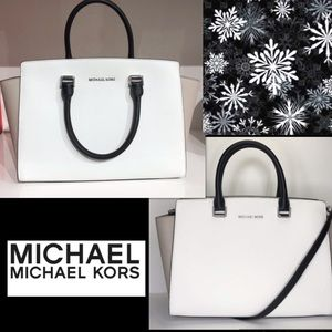 Michael KORS Large Selma Optic White/Grey Leather